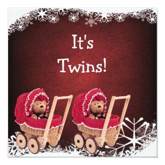 Twin Teddy Bears Christmas Baby Shower Card