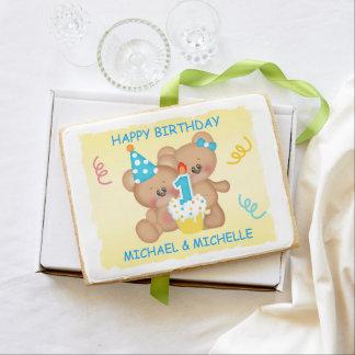 Twin Teddy Bears First Birthday Jumbo Shortbread Cookie