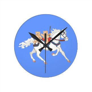 Twin Teddy Bears on a Carousel Horse Clock