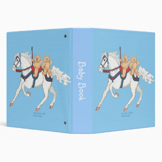 Twin Teddy Bears on Carousel Horse Binder