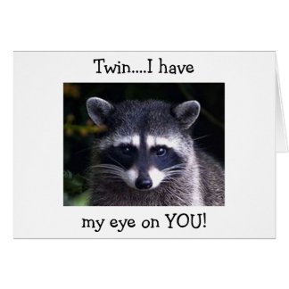 "TWIN-THIS RACOON SAYS ""EYE ON YOU"" LOVE BIRTHDAY CARD"