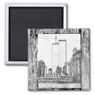 Twin Towers 2 Inch Square Magnet
