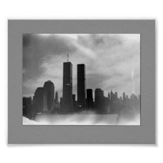 Twin Towers - Black & white Poster