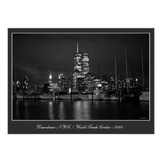 Twin Towers by Night poster print