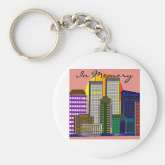 """Twin Towers, """"In Memory"""" of 911 Basic Round Button Keychain"""