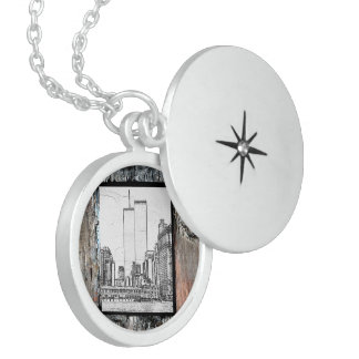 Twin Towers Round Locket Necklace