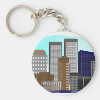 Twin Towers New York---Unique Art Gifts Basic Round Button Keychain