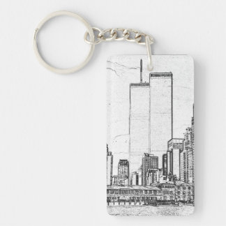 Twin Towers & Prayer for Restoration Double-Sided Rectangular Acrylic Keychain