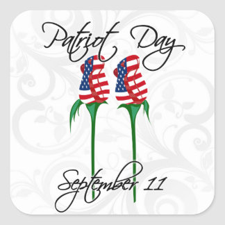 Twin Towers Roses, September 11 Square Sticker
