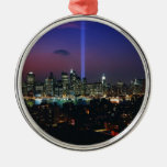 Twin towers round metal christmas ornament