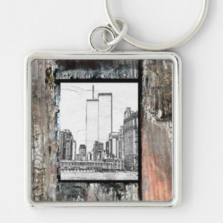 Twin Towers Silver-Colored Square Keychain