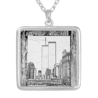 Twin Towers Silver Plated Necklace