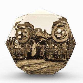 Twin Train Engines Vintage Locomotives Railroad Award