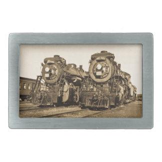 Twin Train Engines Vintage Locomotives Railroad Rectangular Belt Buckle