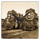 Twin Train Engines Vintage Locomotives Railroad Clock