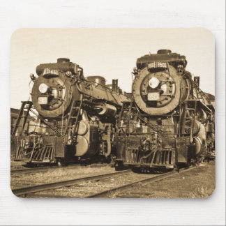 Twin Train Engines Vintage Locomotives Railroad Mouse Pad