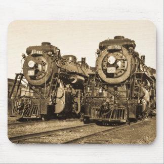 Twin Train Engines Vintage Locomotives Railroad Mouse Pad