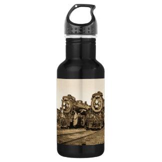 Twin Train Engines Vintage Locomotives Railroad 18oz Water Bottle