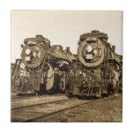 Twin Train Engines Vintage Locomotives Railroad Small Square Tile