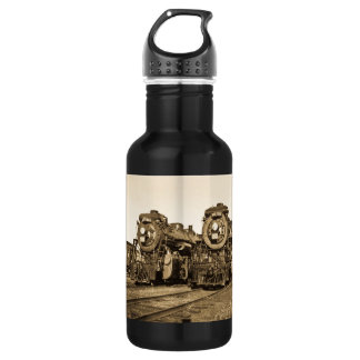 Twin Train Engines Vintage Locomotives Railroad Stainless Steel Water Bottle