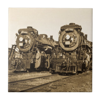 Twin Train Engines Vintage Locomotives Railroad Tile