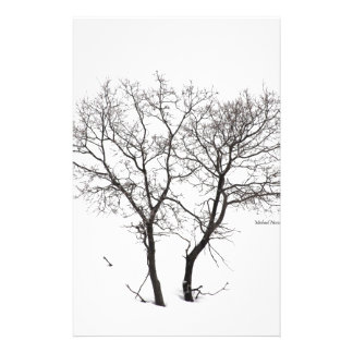 Twin Trees Under Snow Stationery