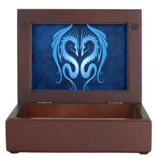 Twin Tribal Dragons, Blue Keepsake Box