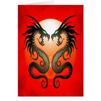 Twin Tribal Dragons Card
