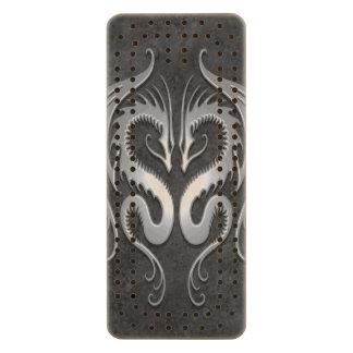 Twin Tribal Dragons, Dark Gray Wood Cribbage Board