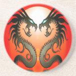 Twin Tribal Dragons Drink Coaster