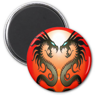 Twin Tribal Dragons Magnet
