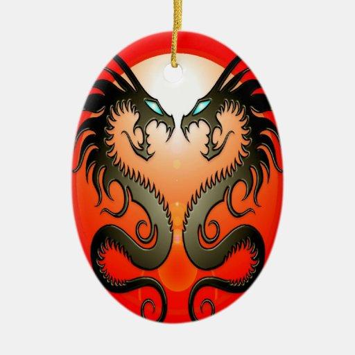 Twin Tribal Dragons Ornaments
