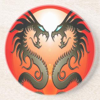 Twin Tribal Dragons Sandstone Coaster