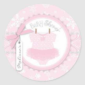 Twin Tutu Polka Dot Jumper & Winter Snowflake Classic Round Sticker