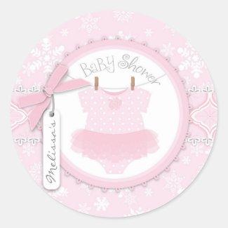 Twin Tutu Polka Dot Jumper & Winter Snowflake Classic Round Sticker