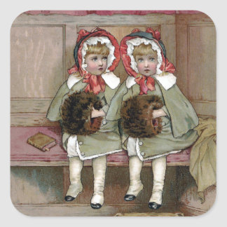 Twin Victorian Girls Awaiting Sermon Square Sticker