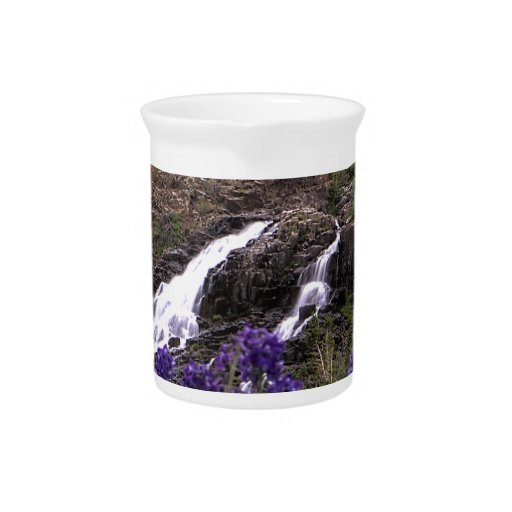 Twin Waterfall and Purple Flowers Beverage Pitchers