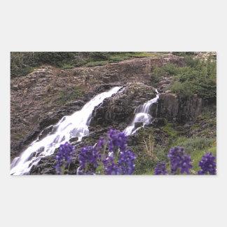 Twin Waterfall and Purple Flowers Rectangular Sticker