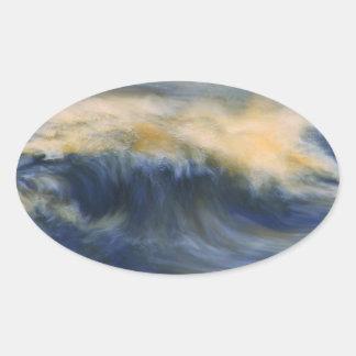 Twin Wave Oval Sticker