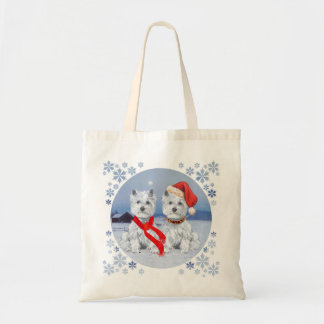Twin Westies on a Wintry Evening Canvas Bag