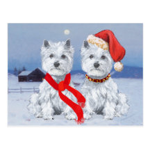 Twin Westies on a Wintry Evening Postcards