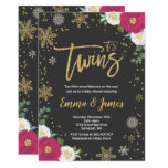 Twin Winter Baby Shower Invitation Twin Christmas