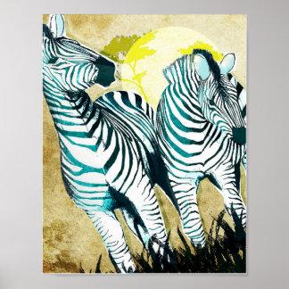 Twin Zebras Design Poster