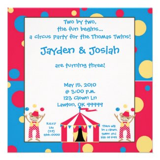 twinbday. Two by two, the fun begins... Personalized Invitation