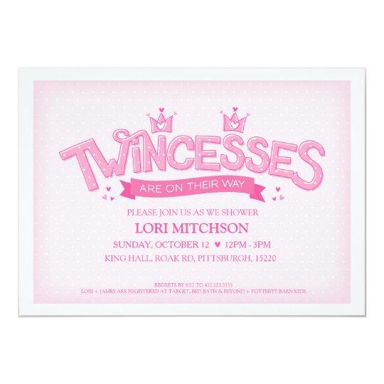 Twincess Twin Girls Baby Shower Invitation Pink Zazzlecom