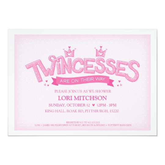 Twincess Twin Girls Baby Shower Invitation Pink Zazzle