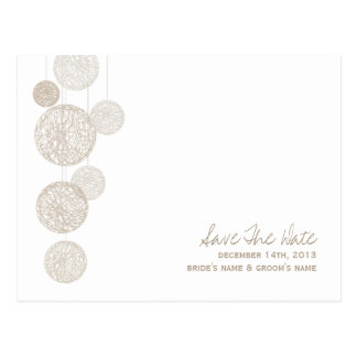 Twine Globes Modern Wedding Save The Date Postcard