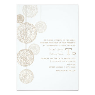 "Twine Globes Wedding Invite From Bride's Parents 5"" X 7"" Invitation Card"