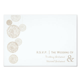 Twine Globes Wedding R.S.V.P. 3.5x5 Paper Invitation Card