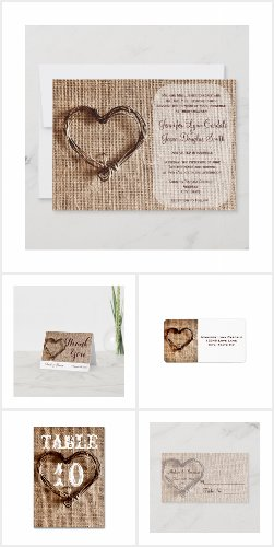 Twine Heart Burlap Print Wedding Invitation Set